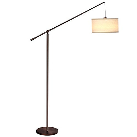 Brightech Hudson 2 - Living Room Led Arc Floor Lamp For Behind The Couch - Pole Hanging Light To Stand Up Over The Sofa - With Led Bulb- Oil Brushed Bronze - llightsdaddy - Brightech - Floor Lamps