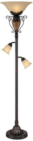 "Traditional Bronze Crackle 72""-H Tree Torchiere Floor Lamp - llightsdaddy - Regency Hill - Lamp Shades"