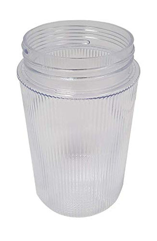 "5"" Ribbed Clear Polycarbonate Jar (Jelly Jar) with 3"" Threaded Neck - llightsdaddy - US MADE - Fixture Replacement Globes & Shades"