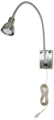 Cal Lighting BO-119-BS Gooseneck Sconce with No Shades, Brushed Steel Finish