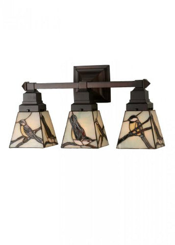 "Meyda Tiffany 98392 Early Morning Visitors 3 Light Wall Sconce, 20"" W, Multi"