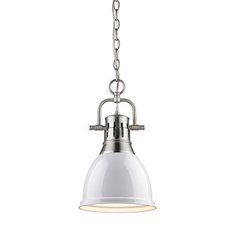 Golden Lighting 3602-S PW-WH Mini Pendant with White Shades, Pewter Finish