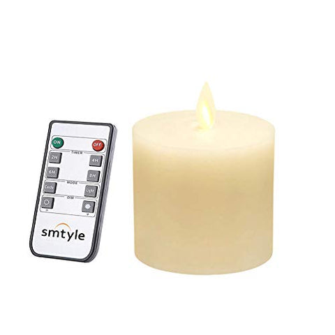 smtyle 3 x 3 inch Moving Flame Battery Operated Candles with LED Flameless Flickering Wick and Timer for Pillar Candle Holders or Desk Decor Flat Top1 - llightsdaddy - CRZM - Flameless Candles