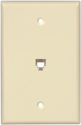 EATON Wiring 3533-4A-L Flush Mount Mid Size Wall Plate with Telephone Jack 4-Conductor, Almond - llightsdaddy - Eaton - Wall Plates