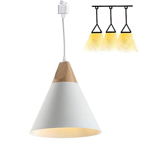 H-Style Track Mount Pendant Fixture White Scandinavian Style Pendant Lights for Kitchen Hanging Lamp - Modern Wood and Aluminium Light - llightsdaddy - Kiven - Island Lights