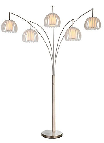 "Artiva USA LED612218FSN Zucca 5-Arch Brushed Steel LED Floor Lamp with Dimmer, 89"", Brushed Nickel"