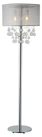 "Artiva USA LED501104FC Charlotte 61"" 2-Light LED Silver Textured Shade Floor Lamp W/Bubbles Glass Balls Dimmer, 61 inches, Chrome - llightsdaddy - Artiva USA - Lamp Shades"