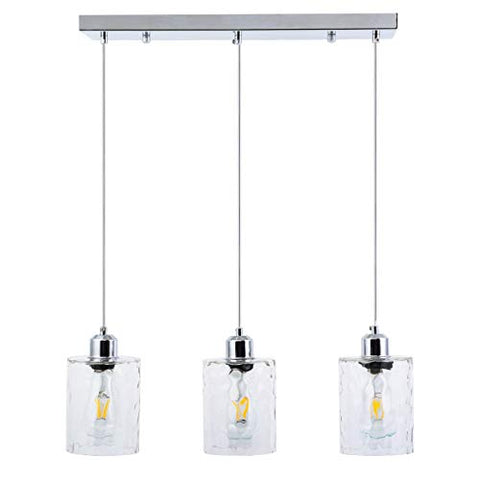 ShengQing 3-Light Clear Hammered Glass Pendant Lights Modern Island Lighting Multi Kitchen Hanging Light Fixture in Chrome Finish - llightsdaddy - ShengQing - Island Lights