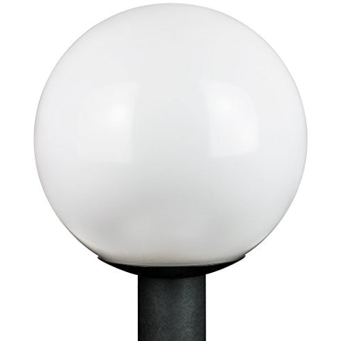 "Sunlite 47228 12"" Decorative Outdoor Globe Polycarbonate Post Fixture, Black Finish, White Lens, 3"" Post Mount (not included) - llightsdaddy - Sunlite - Post Lights"