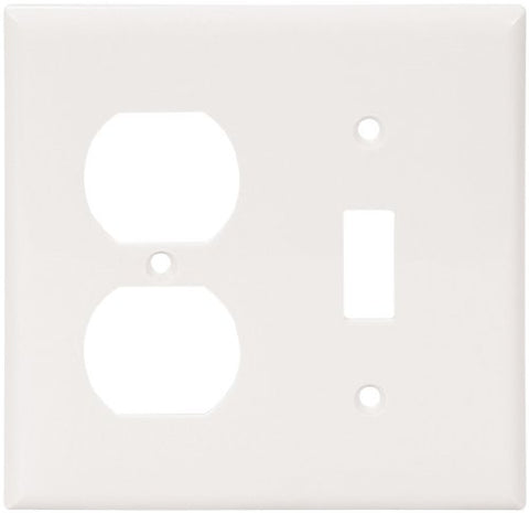 Eaton 5138W Standard Size Nylon Combination 2-Gang Toggle and Duplex Receptacle Wallplate, White - llightsdaddy - Eaton - Wall Plates