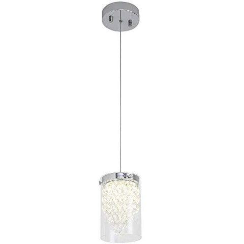 LED Pendant Light,Auffel Modern Dimmable LED Chip Light Source Lamp K9 Crystal+Clear Glass Hanging 660LM Ceiling Light fixtures Elegant Home Decor Light for Kitchen Island,Bar,Cafe Shop,Corridor - llightsdaddy - Auffel - Island Lights