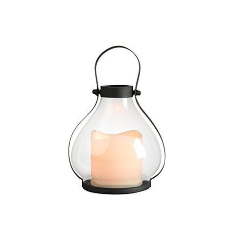 "Gerson Everlasting Glow 41559 Battery Operated Metal and Glass School House Lantern with 3 by 3"" LED Resin Candle, 5.25 by 5.91"", Black - llightsdaddy - The Gerson Company - Flameless Candles"