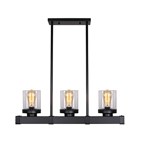 Unitary Brand Antique Black Metal Glass Shade Kitchen Island Light Fixture with 3 E26 Bulb Sockets 120W Painted Finish - llightsdaddy - UNITARY - Island Lights