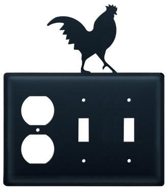 EOSS-1 Rooster Single Outlet Double Switch Electric Cover - llightsdaddy - Village Wrought Iron - Wall Plates