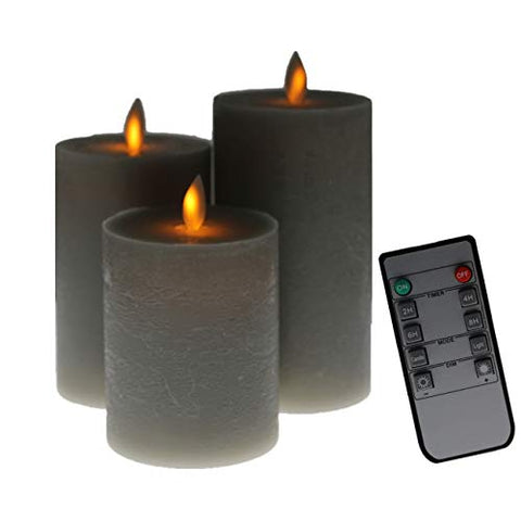 Kitch Aroma Grey flameless Candles, Battery Operated LED Pillar Candles with Moving Flame Wick with Remote Timer,Pack of 3 - llightsdaddy - Kitch Aroma - Flameless Candles