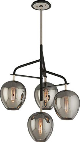 "Troy Lighting Odyssey 24""W 4-Light Pendant - Carbide Black and Polished Nickel with Plated Smoked Glass"
