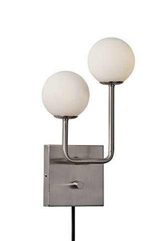 Adesso 3057-22 Asbury Wall Lamp, Brushed Steel