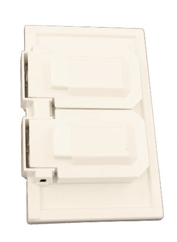 Leviton 4976-W 1-Gang Duplex Device Wallplate Cover, Weather-Resistant, Thermoplastic, Device Mount, Horizontal, White - llightsdaddy - Leviton - Wall Plates