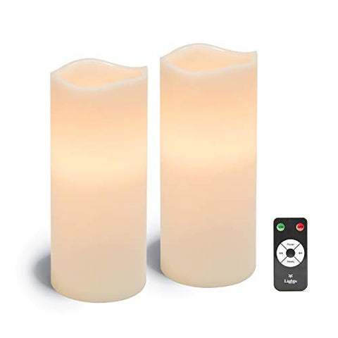 Large Flameless Pillar Candles - White Wax 4 x 10 Inch Candle Set, 2 Pack, Melted Edge, Warm White LED Light - Batteries & Remote Included - llightsdaddy - LampLust - Flameless Candles