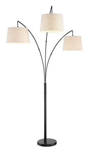 "Kira Home Akira 78.5"" Modern 3-Light Arc Floor Lamp with 4-Way Switch, Oatmeal Shades + Oil Rubbed Bronze Finish - llightsdaddy - Kira Home - Lamp Shades"