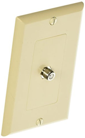 Morris 85118 Decorative Single F Connector Wall Plate, 2 Piece, Almond