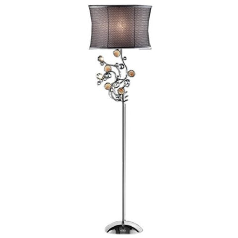 "Ore International K-5137F Enigma Floor Lamp, 17.5"" x 12.5"" x 64.0"", Silver/Gray - llightsdaddy - ORE - Lamps"