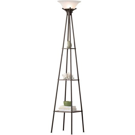 "Mainstays Etagere Floor Lamp Charcoal Finish, 69.5"" - llightsdaddy - Mainstays - Lamp Shades"