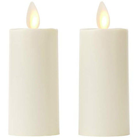 "Set of 2 Votive Flameless Candles: 1.75""x3"" Ivory Unscented Moving Flame Candles with Timer - llightsdaddy - Moonflor - Flameless Candles"