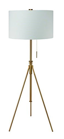 "Ore International 31171F-SG Mid-Century 58"" to 72"" H Adjustable Tripod Gold Floor Lamp, Matte Gold - llightsdaddy - ORE - Lamp Shades"