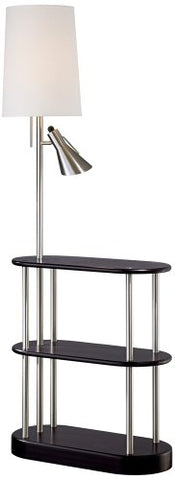 Triple Shelf Brushed Steel Espresso Floor Lamp - llightsdaddy - Possini Euro Design - Outdoor Floor Lamps