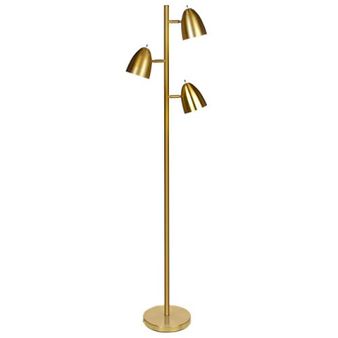 Brightech Jacob - Led Reading And Floor Lamp For Living Rooms &Amp; Bedrooms - Classy, Mid Century Modern Adjustable 3 Light Tree - Standing Tall Pole Lamp With 3 Led Bulbs - Antique Brass/Gold - llightsdaddy - Brightech - Floor Lamps