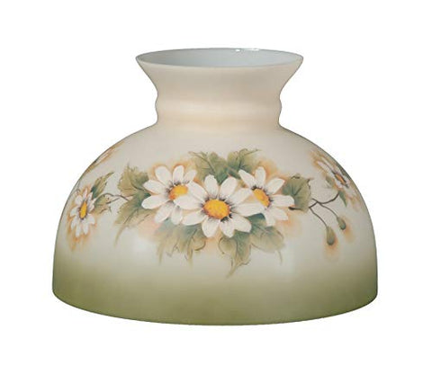 B&P Lamp Opal Glass Student Shade, English Daisy Scene - llightsdaddy - B&P Lamp - Fixture Replacement Globes & Shades