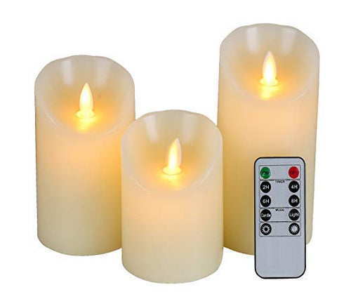 "Homelife Flameless Candles Battery Operated Pillar Real Wax Flickering Moving Flame Electric LED Candle Sets with Remote Control Cycling 24 Hours Timer, 4"" 5"" 6"" Pack of 3 - llightsdaddy - Candle life at home - Flameless Candles"