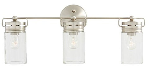 Nessagro Vallymede 3 Light Brushed Nickel Bathroom Vanity Light Mason Jar Glass Bath New .#GH45843 3468-T34562FD266170