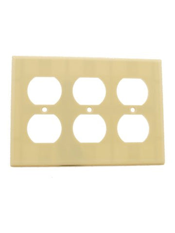 Leviton 86030 3-Gang Duplex Device Receptacle Wallplate, Standard Size, Thermoset, Device Mount, Ivory - llightsdaddy - Leviton - Wall Plates