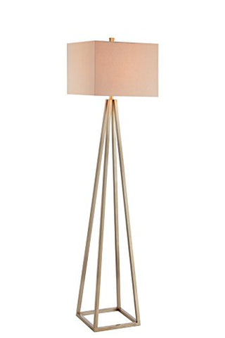 Catalina 19745-000 Contemporary Open Caged Metal Floor Lamp with Natural Linen Rectangular Shade, Gold - llightsdaddy - Catalina Lighting - Outdoor Floor Lamps