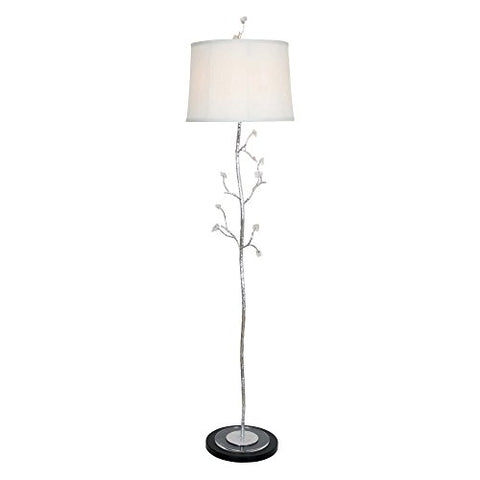 "Van Teal 465662 Frigid Crackled Ice Floor Lamp, 14"" x 16"" x 63"", Silver Leaf/Black Matte - llightsdaddy - Van Teal - Lamp Shades"