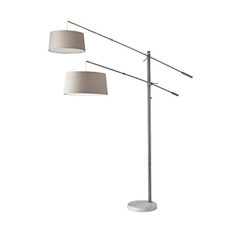 Adesso 5275-22 Manhattan Two-Arm Arc Lamp, Brushed Steel - llightsdaddy - Adesso - Lamp Shades