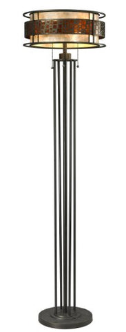 Z-Lite Z16-50FL 3-Light Floor Lamp with Java Bronze Frame, White and Amber Mica - llightsdaddy - Z-Lite - Lamps