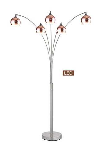 "Artiva USA LED9656FRC Amore LED Arched Floor Lamp, 86"", Rose Copper/Brushed Steel - llightsdaddy - Artiva USA - Lamp Shades"