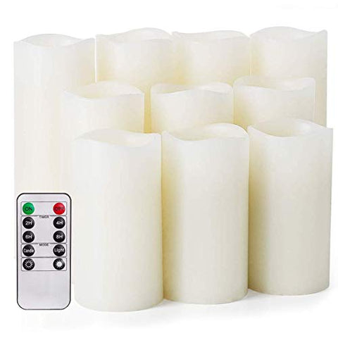 "Flameless Candles,Salipt LED Flickering Candles Set of 10 (H 4"" 5"" 6"" xD 2.2"") Ivory Real Wax Battery Operated Candles with Remote Timer (Batteries not Included) - llightsdaddy - Salipt - Flameless Candles"
