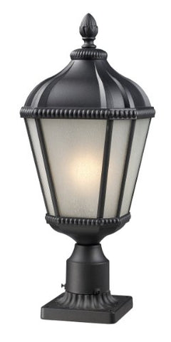 Z-Lite 513PHS-BK-PM Waverly Outdoor Post Light, Aluminum Frame, Black Finish and White Seedy Shade of Glass Material