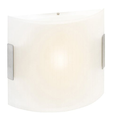 Neon - Square Vanity - Brushed Steel Finish - Line Frosted Glass Shade