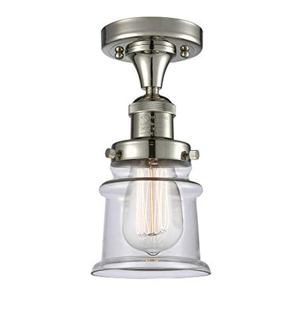 Innovations 517-1CH-PN-G182S Small Canton 1 Light Semi-Flush Mount Part of The Franklin Restoration Collection, Polished Nickel