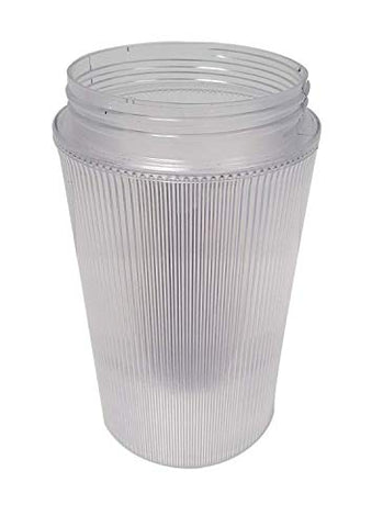 "7-1/4"" Clear Ribbed Polycarbonate Jar (Jelly Jar) with Oversize 4-1/4"" Threaded Neck - llightsdaddy - US Made - Fixture Replacement Globes & Shades"