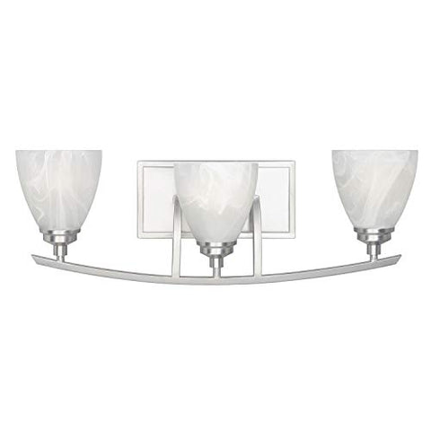 designers fountain 82903-sp tackwood 3-light bath bar, satin platinum