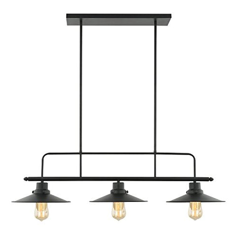 Light Society Margaux 3-Light Kitchen Island Pendant, Matte Black, Vintage Modern Industrial Chandelier (LS-C114) - llightsdaddy - Yes - Island Lights