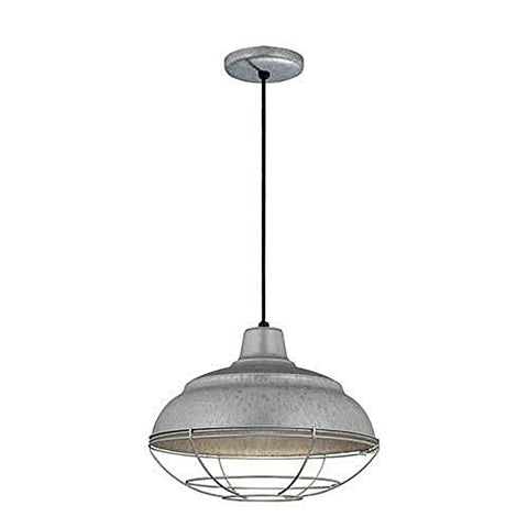 "Millennium Lighting RWHC14-GA R Series - 14"" One Light Warehouse Cord Hung Pendant, Galvanized Finish"