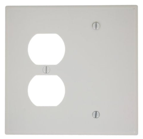 Leviton 80508-W 2-Gang 1-Duplex 1-Blank Device Combination Wallplate, Box Mount, Midway Size, White - llightsdaddy - Leviton - Wall Plates