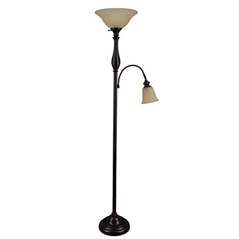 Woodbine 72-in Dark Oil Rubbed Bronze Torchiere With Reading Light Floor Lamp with Glass Shade - llightsdaddy - Woodbine - Lamp Shades